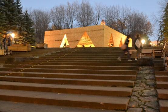 Village inversé FAÉCUM pavillon temporaire éphémère. Temporary pavillion.
