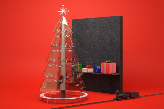 Notre carte de Noël 2016. Sapin en verre structurel. Christmas card 2016 with a structural glass Christmas tree. lateralconseil.com