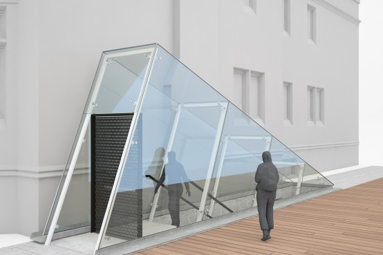 Galerie Le Livart - édicule en verre structurel et structure en acier filigrane. Structural glass entrance canopy. lateralconseil.com