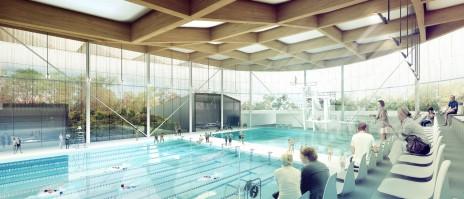 Finaliste du concours du Complexe Aquatique de Laval - Saucier + Perrotte. Toit en lamellé-collé. Glulam roof structure.