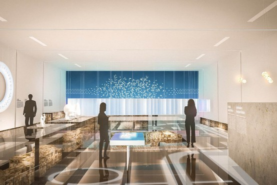 Musée Pointe-à-Callière Fort Ville-Marie - installations en verre structurel. Structural glass installation for a museum.