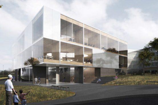 Nouveau pavillon de l'Institut Quantique, Université de Sherbrooke. CLT, gros bois d'oeuvre, Peikko Delta Beam. New pavilion in CLT for the Quantum Institute.